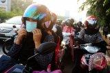 Seorang pengendara motor menggunakan masker yang dibagikan oleh Direktorat Sabhara Polda Kalbar di Jalan Ahmad Yani, Pontianak, Kalbar, Senin (6/7). Dit Sabhara Polda Kalbar membagikan dua ribu masker kepada para pengendara motor, agar terhindar dari pencemaran udara berupa kabut asap yang ditimbulkan dari pembakaran lahan skala besar yang terjadi di lima kabupaten di Kalbar.  ANTARA FOTO/Jessica Helena Wuysang/15