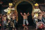 Dua seniman menggotong penari Sang Hyang Dedari yang kesurupan dalam perayaan penetapan tari Bali sebagai warisan budaya dunia di Taman Budaya Denpasar, Rabu (30/12). Sebanyak 9 tari Bali dipagelarkan kembali sekaligus apresiasi terhadap para seniman menyusul ditetapkannya tari-tari Bali tersebut sebagai warisan budaya tak benda oleh UNESCO pada awal Desember 2015. ANTARA FOTO/Nyoman Budhiana/i018/2015.