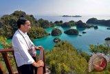 Presiden Joko Widodo melihat ke arah kawasan wisata Raja Ampat dalam rangkaian kunjungannya ke Papua Barat, Jumat (1/1). Presiden Jokowi berada di Raja Ampat dalam rangka menyambut pergantian dari tahun 2015 menuju ke tahun 2016. ANTARA FOTO/HO/Setpres-Agus Suparto
