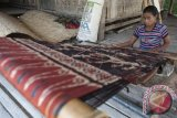 Seorang warga membuat tenun ikat khas Sumba di Desa Prailiu, Sumba Timur, Sabtu (24/6). Kerajinan kain tenun dengan pewarna alami tersebut banyak dikembangkan warga sebagai bisnis sampingan bidang pariwisata, selain penghasilan utama mereka di bidang pertanian dan peternakan. ANTARA FOTO/Nyoman Budhiana/wdy/17.