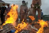 Sejumlah petugas melakukan pembakaran sejumlah barang bukti hasil tangkapan di Stasiun Karantina Kelas I Entikong, Kabupaten Sanggau, Kalbar, Jumat (5/10). Ribuan telur ayam dan 70 kilogram daging unggas beku asal Malaysia yang merupakan hasil tangkapan Satgas Pamtas Indonesia-Malaysia dari Yonif 511/Dibyatara Yudha dimusnahkan, untuk mencegah masuknya virus flu burung yang sedang mewabah di negeri jiran. ANTARA FOTO/Agus Alfian/jhw/18