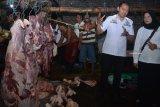 Petugas memperhatikan barang bukti daging sapi gelonggongan saat melakukan penggerebekan di kandang sapi di kawasan Krian, Sidoarjo, Jawa Timur, Rabu (5/12/2018). Polisi mengungkap praktik penyembelihan sapi dengan cara digelonggong lebih dulu di salah satu tempat pemotongan hewan di daerah itu. Antara Jatim/Umarul Faruq/ZK.