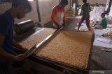 Pekerja melakukan kegiatan produksi jajajan bipang di sentra UKM bipang di Tulungagung, Jawa Timur, Senin (27/5/2019). Di tingkat produsen/UKM, jajanan bipang yang berbahan dasar beras yang dipanaskan dalam mesin bertekanan tinggi itu dijual dengan harga Rp14 ribu per bal (isi 30 bungkus bipang) dan dipasarkan ke sejumlah kota di Jatim, Jateng hingga luar Jawa seperti ke Lombok, Kalimantan, hingga Merauke Provinsi Papua Barat. Antara Jatim/Destyan Sujarwoko/zk.