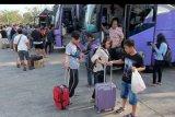Pemudik membawa barang bawaan setibanya di Terminal Mengwi, Badung, Bali, Sabtu (8/6/2019). Petugas terminal memperkirakan puncak arus balik Idul Fitri 1440 H ke Bali terjadi pada Minggu (9/6). ANTARA FOTO/Nyoman Hendra Wibowo/nym.