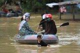 Seorang anak menarik perahu untuk membantu warga saat banjir bandang di pemukiman Kelurahan Wanggu, Kendari, Sulawesi Tenggara, Senin (10/6/2019). Banjir bandang terjadi akibat meluapnya Sungai Konaweha sejak Sabtu (8/6/2019) dan berimbas naiknya air Sungai Wanggu sehingga 86 rumah terendam banjir dan lebih dari 200 jiwa terpaksa mengungsi. ANTARA FOTO/Jojon/nym.