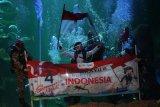 Penampil mempertunjukkan pagelaran upacara bendera bawah air di Sea World, Jakarta, Senin (12/8/2019). Upacara tersebut dilakukan untuk memeriahkan HUT RI ke-74. ANTARA FOTO/Akbar Nugroho Gumay/nym.