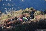 Sejumlah pendaki melakukan pendakian melalui jalur pendakian Cemoro Sewu menuju puncak Gunung Lawu, Sabtu (17/8/2019). Gunung Lawu setinggi 3.265 meter di atas permukaan laut tersebut ramai dikunjungi pendaki pada momen liburan 17 Agustus, tahun baru penanggalan Jawa 1 Sura bersamaan tahun baru Islam 1 Muharram, dan tahun baru Masehi 1 Januari, hingga jumlahnya mencapai ribuan pendaki. Antara Jatim/Siswowidodo/zk.