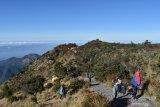 Pendaki melakukan pendakian di jalur Cemoro Sewu menuju puncak Gunung Lawu, Sabtu (17/8/2019) dini hari. Gunung Lawu setinggi 3.265 meter di atas permukaan laut tersebut ramai dikunjungi pendaki pada momen liburan 17 Agustus, tahun baru penanggalan Jawa 1 Sura bersamaan tahun baru Islam 1 Muharram, dan tahun baru Masehi 1 Januari, hingga jumlahnya mencapai ribuan pendaki. Antara Jatim/Siswowidodo/zk.