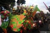 Warga mengarak penganten di Glagah, Banyuwangi, Jawa Timur, Kamis (22/8/2019). Tradisi Mengarak penganten tersebut, masih dilestarikan oleh masyarakat suku osing sebagai warisan budaya leluhur. Antara Jatim/Budi Candra Setya/zk.