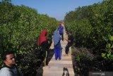 Warga menikmati wisata edukasi hutan mangrove yang masih dalam tahap penyelesaian di Pantai Lembung, Pamekasan, Jawa Timur, Minggu (6/10/2019). Kawasan tersebut nantinya direncanakan menjadi destinasi wisata edukasi hutan mangrove terlengkap dan terbesar di Madura. Antara Jatim/Saiful Bahri/zk.
