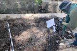 Petugas Balai Pelestarian Cagar Budaya (BPCB) Trowulan mengidentifikasi lokasi yang diduga merupakan bagian dari situs Candi Gedog saat melakukan penggalian (Ekskavasi) di area persawahan di Kelurahan Gedog Kecamatan Sananwetan, Kota Blitar, Jawa Timur, Kamis (10/10/2019). Tim Ekskavasi BPCB Trowulan berhasil menemukan bagian pintu dan pagar candi yang diduga memiliki luas sekitar 25 meter persegi dengan struktur batu bata berdimensi Panjang sekitar 30-32 sentimeter, Lebar 20-22 sentimeter, dengan ketebalan sekitar 6-8 sentimeter, dan dari hasil temuan itu, Tim memperkirakan situs Candi Gedog merupakan candi dari era Kerajaan Majapahit. Antara Jatim/Irfan Anshori/zk