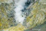 Asap mengepul dari kawah Gunung Tangkuban Parahu, Kabupaten Subang, Jawa Barat, Selasa (22/10/2019).  Pos pengamatan PVMBG Gunung Api Tangkuban Parahu menyatakan status gunung Tangkuban Parahu menjadi normal sejak 21 Oktober 2019 pukul 09.00 WIB, dan terpantau tinggi asap rata-rata hanya 10 hingga 20 meter dari dasar kawah. ANTARA FOTO/Raisan Al Farisi/agr