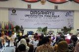 Ketua Pembina Yayasan Pendidikan dan Pembina Universitas Pancasila (YPPUP) Dr (HC) Ir Siswono Yudo Husodo ketika menyampai sambutan dalam acara perayaan HUT UP ke 53.