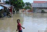 Warga melintasi banjir di Desa Laden, Pamekasan, Jawa Timur, Minggu (23/2/2020). Hujan deras selama hampir enam jam pada hari Sabtu (22/2) menyebabkan sungai yang membelah kota kabupaten tersebut, meluap dan menggenangi ratusan pemukiman warga dengan ketinggian air hingga 160 cm. Antara Jatim/Saiful Bahri/zk
