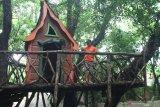 Wisatawan melihat rumah kurcaci yang dibangun di Taman Wisata Alam Tawun, Ngawi, Jawa Timur, Senin (24/2/2020). Pengelola kawasan wisata alam tersebut sengaja membangun berbagai fasilitas swafoto antara lain rumah kurcaci dan taman bunga untuk menambah daya tarik wisatawan agar datang berkunjung. Antara Jatim/Ari Bowo Sucipto/zk