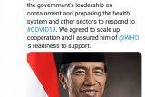 Presiden Jokowi telepon WHO terkait COVID-19
