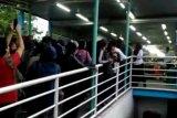 Antrean panjang penumpang Halte TransJakarta UKI