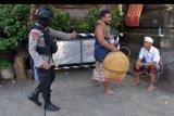 Anggota Brimob Polda Bali membubarkan warga yang menggelar sabung ayam di Denpasar, Bali, Selasa (24/3/2020). Polisi menertibkan warga yang berkerumun tersebut untuk pencegahan penyebaran COVID-19. ANTARA FOTO/Nyoman Hendra Wibowo/nym