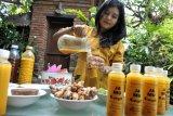 Seorang warga melakukan proses pembuatan jamu kunyit untuk memanfaatkan waktu bekerja di rumah di Denpasar, Bali, Rabu (8/4/2020). Kegiatan tersebut dilakukan untuk mengurangi berada di luar rumah selama pandemi COVID-19 dengan berbisnis jamu kunyit secara daring. ANTARA FOTO/Fikri Yusuf/nym.