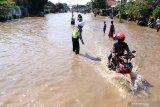 BANJIR PASURUAN. Kendaraan bermotor menerobos banjir yang menggenangi kawasan Jalan Raya Pantura Kraton, Pasuruan, Jawa Timur, Selasa (14/4/2020). Banjir sedalam satu meter yang hampir melumpuhkan Jalur Pantura tersebut terjadi akibat meluapnya Sungai Welang setelah diguyur hujan sejak Senin (13/4) malam. Antara Jatim/Umarul Faruq/zk