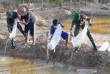 Babinsa Teweh Tengah dan warga budi daya ikan untuk perkuat ketahanan pangan