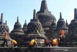 Candi Borobudur dibersihkan dari abu Gunung Merapi