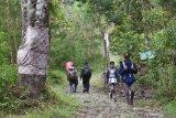 Pendaki Gunung Lawu melintasi jalur pendakian Cemoro Sewu, Magetan, Jawa Timur, Sabtu (27/6/2020). Pengelola wisata kawasan Gunung Lawu membuka kembali jalur pendakian Gunung Lawu setelah ditutup selama sekitar tiga bulan masa pandemi COVID-19 dengan menerapkan protokol kesehatan guna pencegahan penyebaran penyakit yang disebabkan virus Corona, antara lain pemeriksaan suhu tubuh, menjaga jarak, cuci tangan, membawa hand sanitizer, tidak bergerombol dengan kelompok lain, mengenakan masker ketika di base camp dan tempat tertentu. Antara Jatim/Siswowidodo/zk.