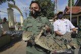 Petugas Balai Besar Konservasi Sumber Daya Alam (BBKSDA) Jawa Barat mengangkut buaya muara (Crocodylus Porosus) liar untuk dievakuasi di Losarang, Indramayu, Jawa Barat, Rabu (1/7/2020). Buaya muara sepanjang 2 meter yang ditangkap warga saat berkeliaran di pemukiman tersebut selanjutnya akan dibawa ke pusat penangkaran untuk diperiksa kondisi fisik dan kesehatannya. ANTARA JABAR/Dedhez Anggara/agr