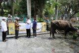 Dewan Direksi dan Komisaris Hasnur Group Yuni Abdi Nur Sulaiman (dua kanan) berbincang bersama pengurus Masjid Raya Sabilal Muhtadin saat penyerahan hewan kurban di Masjid Raya Sabilal Muhtadin, Banjarmasin, Kalimantan Sslatan, Rabu (29/7/2020). Untuk selalu memberi manfaat bagi masyarakat Hasnur Group membagikan 109 ekor hewan kurban yang disebar di wilayah Kalimantan Selatan, sebanyak 26 ekor hewan kurban telah disebar di Kota Banjarmasin. Foto Antaranews Kalsel/HO-Daus/Bay.