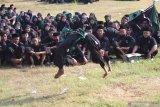 Pesilat Pagar Nusa Nahdlatul Ulama (NU) memperagakan jurus saat apel kesetiaan terhadap Negara Kesatuan Republik Indonesia (NKRI) di Gurah, Kediri, Jawa Timur, Minggu (2/8/2020). Kegiatan yang dihadiri ratusan kader NU tersebut guna memperingati HUT ke-75 Republik Indonesia sekaligus mengingatkan kepada anggota agar menjaga NKRI dan tidak memanfaatkan organisasi untuk kepentingan pribadi ataupun kelompok tertentu. Antara Jatim/Prasetia Fauzani/zk