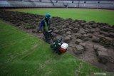 Pekerja memotong rumput menggunakan mesin di Stadion Gelora Bung Tomo (GBT), Surabaya, Jawa Timur, Jumat (14/8/2020). Perbaikan yang dilakukan sesuai standar FIFA pada bagian dalam dan di luar Stadion GBT tersebut dalam rangka persiapan menyambut Piala Dunia U-20 pada 2021 mendatang. Antara Jatim/Moch Asim/zk.