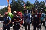 Sejumlah pendaki turun dari puncak Gunung Lawu di Cemoro Sewu, Kabupaten Magetan, Jawa Timur, Rabu (19/8/2020). Setelah sebelumnya sempat dibuka selama sekitar sebulan, pengelola kawasan wisata Gunung Lawu menutup kembali jalur pendakian menuju puncak Gunung Lawu melalui jalur Cemoro Sewu guna pencegahan penyebaran COVID-19. Antara Jatim/Siswowidodo/zk.