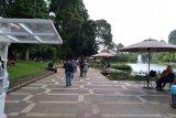 Kebun Raya Bogor (KRB) di Kota Bogor Jawa Barat cukup ramai dikunjungi wisatawan meskipun masih dalam situasi pandemi COVID-19, Minggu (23/8/2020). Ada sekitar 4.000 wisatawan yang mengunjungi KRB, dengan menerapkan protokol kesehatan.  (ANTARA/Foto: Megapolitan.Antaraness.Com/Riza Harahap).