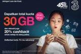 3 berikan kuota 30GB mendukung pembelajaran jarak jauh
