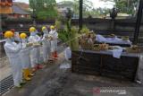 Petugas menggunakan pakaian hazmat dan alat pelindung diri saat melakukan proses kremasi jenazah pasien COVID-19 di Krematorium Sagraha Mandra Kantha Santhi, Desa Bebalang, Bangli, Bali, Sabtu (10/10/2020). Sejak bulan Mei hingga Oktober 2020 jenazah pasien COVID-19 di seluruh Bali sebagian besar dikremasi di krematorium tersebut sehingga tidak memerlukan lahan pemakaman. ANTARA FOTO/Nyoman Hendra Wibowo/wsj.