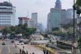 Lalu lintas jalan MH Thamrin masih terpantau lancar meski ada aksi demo