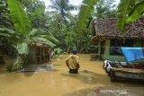 Warga menerobos genangan air saat masuk kedalam rumahnya pascabanjir di Desa Sindangrasa, Kabupaten Ciamis, Jawa Barat, Selasa (27/10/2020). Banjir luapan sungai Ciptrahaji dan Cikaso mengakibatkan ratusan rumah warga di tujuh desa, Kecamatan Banjarsari dan Banjaranyar, terendam banjir dan beberapa jembatan putus diterjang derasnya air sungai. ANTARA JABAR/Adeng Bustomi/agr