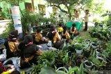 Anggota Pramuka belajar cara mengolah  sampah menjadi pot bunga di Yasmine  Kalipuro, Banyuwangi, Jawa Timur, Rabu (18/11/2020). Edukasi mengolah sampah yang sulit terurai seperti styrofoam, plastik dan kain menjadi kerajinan pot bunga itu sebagai giat Pramuka peduli lingkungan sekaligus mengenalkan peluang usaha yang bernilai ekonomis. Antara Jatim/Budi Candra Setya/mas.
