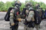 Sejumlah prajurit pasukan khusus dari Batalyon Intai Amfibi 2 (Taifib 2) Marinir Pasmar 2, bersiap melakukan latihan formasi terjun bebas (free fall) di atas Lanudal Juanda, Sidoarjo, Jawa Timur, Selasa (15/12/2020). Latihan terjun free fall tersebut dalam rangka memelihara dan meningkatkan kemampuan, keterampilan serta profesionalisme aspek udara para prajurit Taifib 2 Marinir Pasmar 2. Antara Jatim/Serka Mar Kuwadi/Um