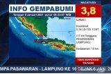 16 kali goncangan gempa di Pesawaran Lampung