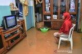 Seorang ibu menonton acara televisi  di dalam rumahnya yang terendam banjir di Desa Tanjungsari, Kecamatan Sukaresik, Kabupaten Tasikmalaya, Jawa Barat, Kamis (14/1/2021). Akibat intensitas hujan yang tinggi, luapan air Sungai Citanduy dan Cikidang meluas hingga merendam 400 rumah warga di Dusun Bojongsoban dan Hegarsari dengan ketinggian mencapai sekitar 80 sentimeter hingga 1,5 meter. ANTARA JABAR/Adeng Bustomi/agr