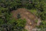 Foto udara kondisi galian pasir di Kawasan Dinding Ari Gunung Galunggung, Kampung Leuweng Keusik, Kabupaten Tasikmalaya, Jawa Barat, Jumat (22/1/2021). Aliansi Masyarakat Peduli Galunggung (AMPEG) menuntut untuk mencabut Izin Usaha Penambangan (IUP) yang dikeluarkan oleh Pemerintah Provinsi Jabar yang dinilai merusak lingkungan dan ekosistem alam. ANTARA JABAR/Adeng Bustomi/agr