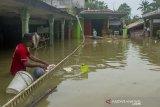 Warga membersihkan sampah di sekitar rumahnya saat  banjir di Desa Karangligar, Karawang, Jawa Barat, Selasa (23/2/2021). Badan Nasional Penanggulangan Bencana (BNPB) mencatat warga terdampak banjir di Kabupaten Karawang mencapai 28.329 jiwa dan mengakibatkan 8.539 unit rumah terendam banjir yang disebabkan meluapnya sungai Citarum, Cibeet, Cikereteg, Cikalapa dan Cilamaya serta Cikaranggelam. ANTARA JABAR/M Ibnu Chazar/agr