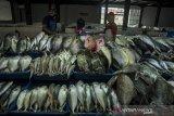 Pedagang merapikan ikan segar untuk dijual di Pasar Ikan Modern Soreang, Kabupaten Bandung, Jawa Barat, Selasa (23/2/2021). Perusahaan Umum Perikanan Indonesia (Perindo) sebagai BUMN perikanan menargetkan penjualan ikan pada 2021 naik jadi dua kali lipat menjadi Rp 849.325.022 dibandingkan dengan penjualan tahun 2020 sebesar Rp447.985.361 yang didukung salah satunya melalui keberadaan Pasar Ikan Modern. ANTARA JABAR/Novrian Arbi/agr