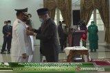 Bupati dan Wabup Dharmasraya Sutan Riska Tuanku Kerajaan, S.E dan Dasril Panin Datuk Labuan dilantik Gubernur Sumbar