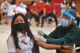 Vaksinator menyuntikkan vaksin COVID-19 kepada pegawai lingkungan Pemerintah Kabupaten Badung di kawasan Mangupura, Badung, Bali, Rabu (3/3/2021). Vaksinasi COVID-19 tersebut dilakukan kepada seluruh pegawai di lingkungan Pemkab Badung secara bertahap dengan prioritas kepada pegawai di sejumlah Organisasi Perangkat Daerah (OPD) yang bertugas melakukan interaksi pelayanan publik langsung kepada masyarakat untuk mencegah penyebaran pandemi COVID-19. ANTARA FOTO/Fikri Yusuf/nym