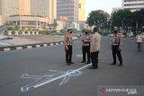 Polisi gelar olah TKP atas kasus mobil tabrak pesepeda di Bundaran HI