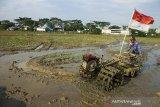 Petani membajak areal persawahan di Desa Margasari, Karawang, Jawa Barat, Rabu (7/4/2021). Kementerian Pertanian terus berupaya untuk menstabilkan harga gabah dengan menyerap gabah petani sesuai Harga Pembelian Pemerintah (HPP) guna menjamin stok beras nasional serta meningkatkan kesejahteraan petani. ANTARA JABAR/M Ibnu Chazar/agr