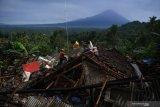 Warga berusaha mengumpulkan barang berharga miliknya yang berada diantara reruntuhan rumahnya yang rubuh akibat gempa di Desa Kali Uling, Lumajang, Jawa Timur, Minggu (11/4/2021). Sekitar ratusan rumah warga di wilayah itu rusak akibat gempa M 6,1 yang terjadi di Kabupaten Malang pada Sabtu (10/4). Antara Jatim/Zabur Karuru