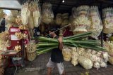 Warga membeli daun lontar untuk pernak-pernik perlengkapan sesajen menjelang Hari Raya Galungan di Desa Kapal, Badung, Bali, Senin (12/4/2021). Umat Hindu akan merayakan Hari Raya Galungan pada Rabu (14/4) mendatang dengan tetap menerapkan protokol kesehatan untuk mencegah terjadinya penyebaran COVID-19 klaster upacara keagamaan. ANTARA FOTO/Nyoman Hendra Wibowo/nym.